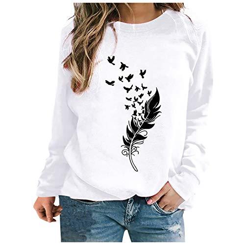 Sweat-shirt à motif plume pour femme - Pull décontracté - Uni - Col rond - Manches longues - Patchwork ample (XXXL, blanc) prix et achat