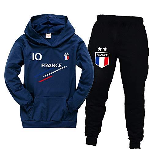 Jogging Enfant De Football France 2 étoiles Sweats à Capuche Survêtements garçon Sweats à Capuche Pantalons de Sport (navyblue,9-10ans) prix et achat