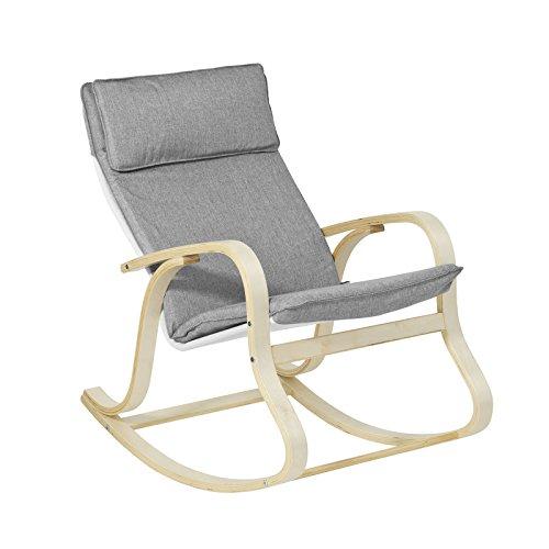 SoBuy FST15-DG Rocking Chair Fauteuil à Bascule Berçant Fauteuil Relax en Bouleau Flexible - Gris