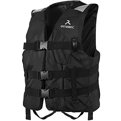 arteesol Gilet de sauvetage 50-N - Certifié CE ISO 12402-5 - Respirant - Protection contre les chocs - Pour les jeunes enfants et les femmes - Pour le kayak Sup Windsurf - Noir - 30-50 kg