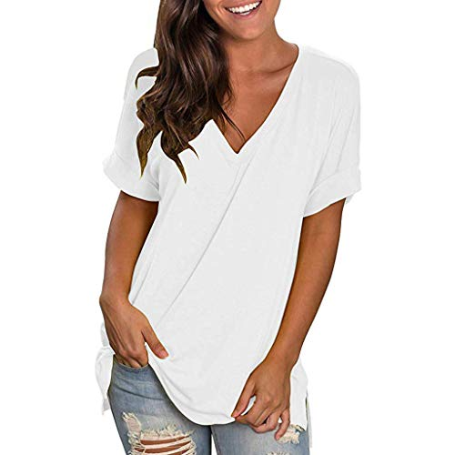 t-Shirt Femme Blanc Noir Jaysis Tee Shirt Femme Sexy Ete Chic Col v Solide Ample Tunique Tee...
