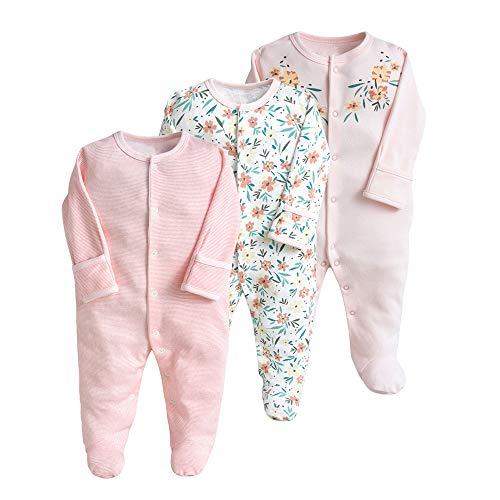 Pyjama pour Bébé Lot de 3 Combinaison en Coton Garçon Fille Grenouillères Manche Longues...