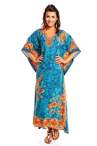 Neuf Femmes Surdimensionné Maxi Kimono Tunique Caftan Robe Caftan Grande - Turquoise - Taille 52-54-31 Pouces