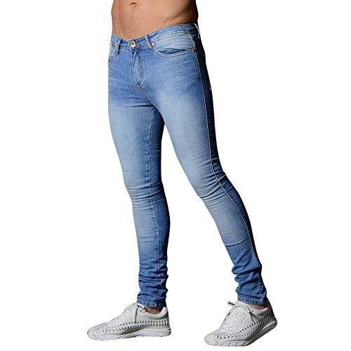 Hommes Denim Jeans Coupe Slim Chino De Base Occasionnels Pantalon,Pantalon Slim en Denim Extensible pour Hommes Pantalon Long Et DéContracté Jeans Skinny(Bleu Clair,M)