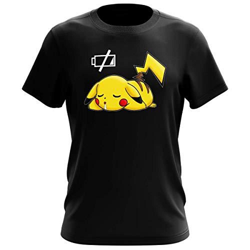 T-Shirt Manga - parodie Pikachu de Pokémon - Batterie à plat ! - T-shirt Homme Noir - Haute...