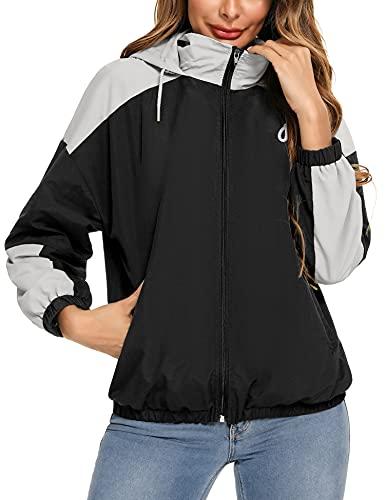 Doaraha Manteau Imperméable Veste de Pluie Léger Coupe-Vent Femme à Capuche pour Voyage Camping Randonnée Vacance , Noir + Gris, XL