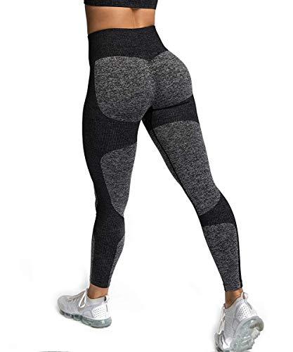 Yaavii Pantalon Yoga Longue Legging de Sport Taille Haute sans Couture pour Femme - Noir -...