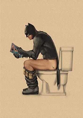 Marvel Super-Héros Batman Toilette Affiche Drôle Mur Art Affiches Rétro Kraft Papier Imprime Mur Photos Pour Salle De Bains Décor 30X21Cm Or