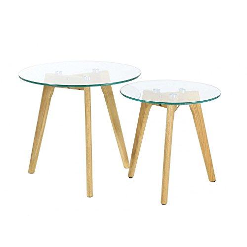 THE HOME DECO FACTORY HD3207 Lot de 2 Tables Gigogne, Matière Bois/Verre, Transparent, 50 x 50 x 43, 50 cm