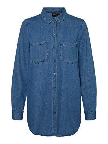 Vero Moda Vmmila Ls Long Shirt Mix GA Noos Blouse, Denim Bleu médium, L Femme prix et achat