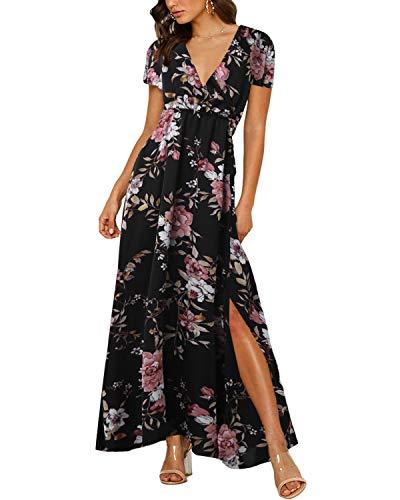 Auxo Femme Maxi Longue Manches Courtes Col V Robe Bohème Fleurie Imprimée Décontractée Dress Casual de Plage Soirée Noir M