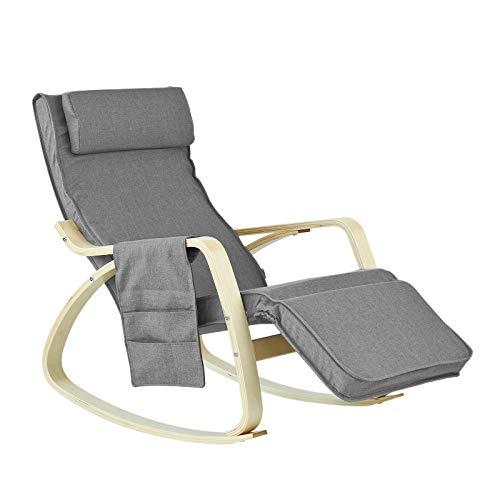 SoBuy® FST18-DG éponge plus épais, Rocking Chair Fauteuil à...