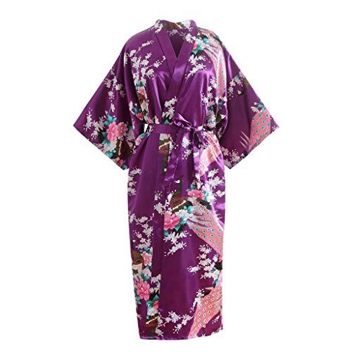 BOLUOBAO Robe De Chambre Femme Japonais Satin Longue Imprimé Peignoir Femmes Kimono Fantaisie...