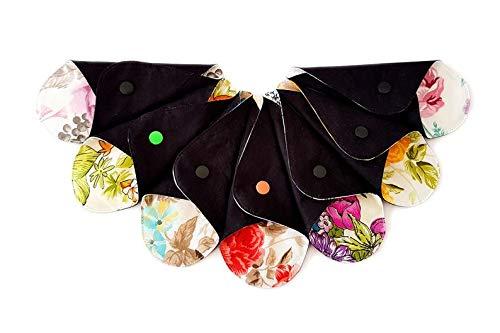 Lilind® Lot de 7 protège-slips réutilisables en tissu organique extra fin, lavable, zéro déchet, 100 % coton, 7 x T fleurs aléatoires prix et achat