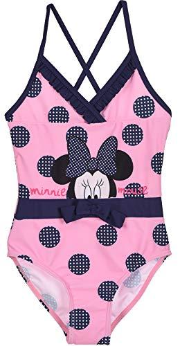 Maillot de Bain 1 pièce imprimé de Gros Pois Enfant Fille Minnie Disney Rose et Marine de 3...