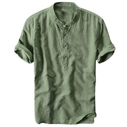 VJGOAL Chemise Homme Manches Courtes Col Mao Ete Cool Manche Courte Couleur Unie T Shirt-Haute...