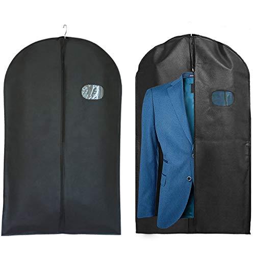 2 pcs noir sacs à vêtements avec fermeture à glissière, poche pour costume en matériau non tissé plus épais, rangement vêtements unisexe, anti-poussière respirant, housse protection voyage 128x60cm prix et achat