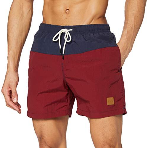Urban Classics - TB1026 - Shorts de bain- Homme - Multicolore (Nvy/Burgundy 675) - M