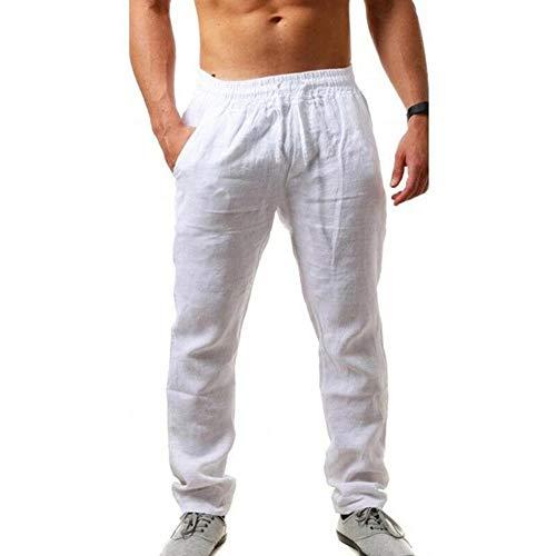 I3CKIZCE Pantalon été Hommes en Coton et Lin Pantalons Décontractée de Plage Léger Confortable Respirant Taille Elastique Coupe Régulaire Couleur Unie Grande Taille (White, M) prix et achat