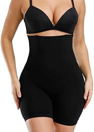 ANGOOL Femme Invisible Body Gainant Panties Culotte Taille Haute Gainante Minceur Body Shaper Ventre Plat Combinaisons Sculptantes, Noir, XL