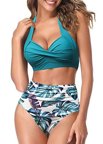 AOQUSSQOA Femmes Deux pièces Tankini Maillots de Bain Taille Haute Licou Vintage Bikini...