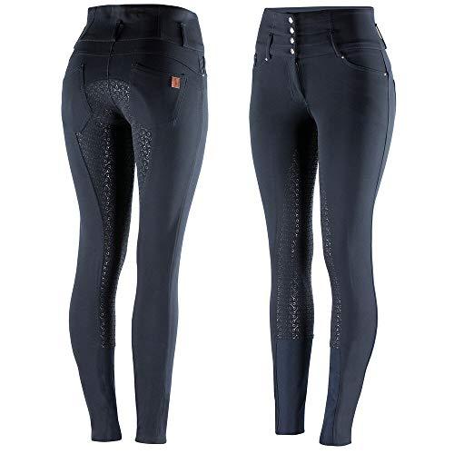 HORZE Pantalon d'équitation Taille Haute Tara, Silicone, Fond intégral, Femme, Bleu, 40