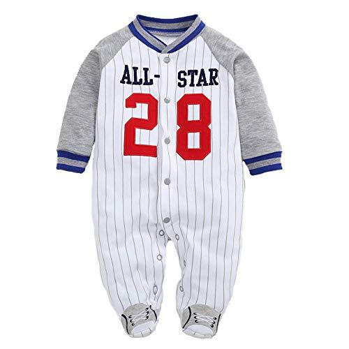 Pyjama Bébé Combinaisons Garçons Grenouillères en Coton Bodys à Manches Longues 0-3 Mois