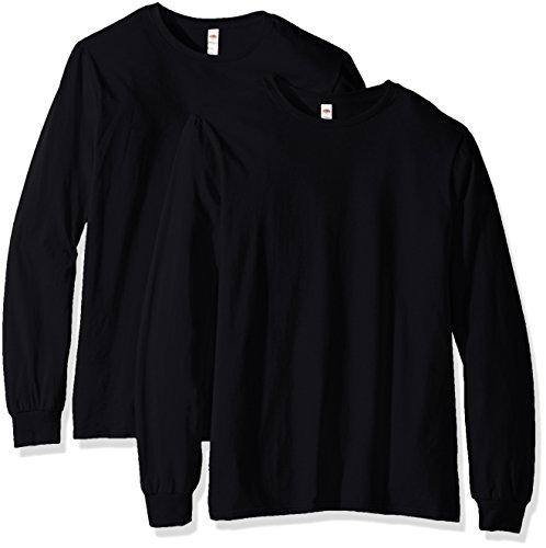 Fruit of the Loom Lot de 2 t-shirts à manches longues pour homme - noir - Taille XL