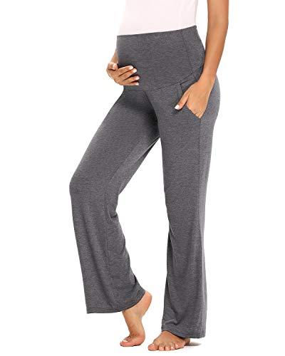 Love2Mi Pantalon de grossesse pour femme - Pantalon de grossesse extensible avec jambes larges, Gris/sac, M