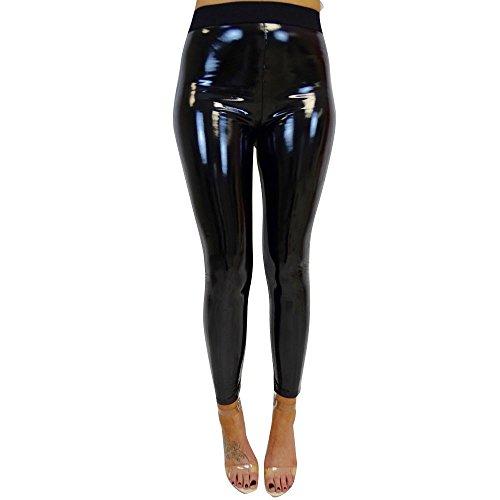 KEERADS Femmes Dames Pantalon de Sport Pantalon de Yoga Extensible Brillant Sport Aptitude Leggings Pantalon Un Pantalon Bas Pantalon en Cuir Pantalon Exercice(S,Noir) prix et achat