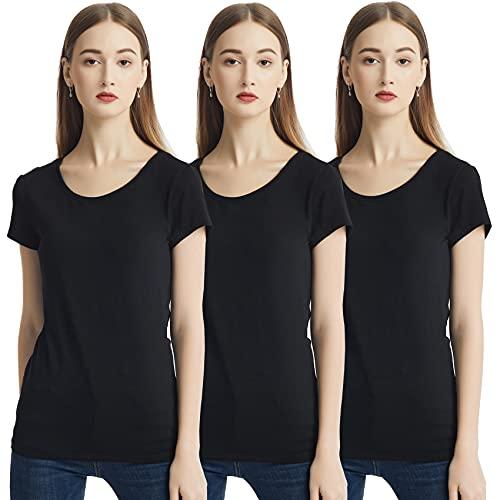 KELOYI T-Shirts à Manches Courtes Col Rond Été T Shirt Femme Noir Coupe ajustée Tee Shirt Vetement Femme Marque 3 Pack L