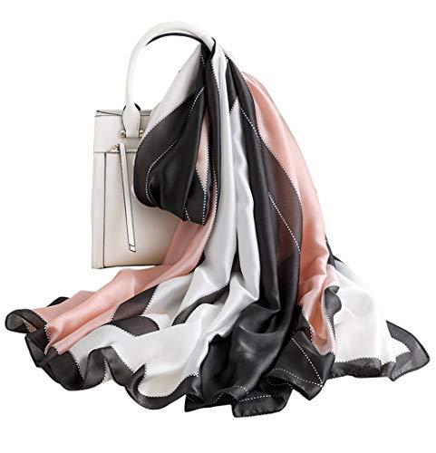 W.Best Femme Foulard 100% Soie Grande Echarpe Châle Ultra-Léger Respirant Elégant