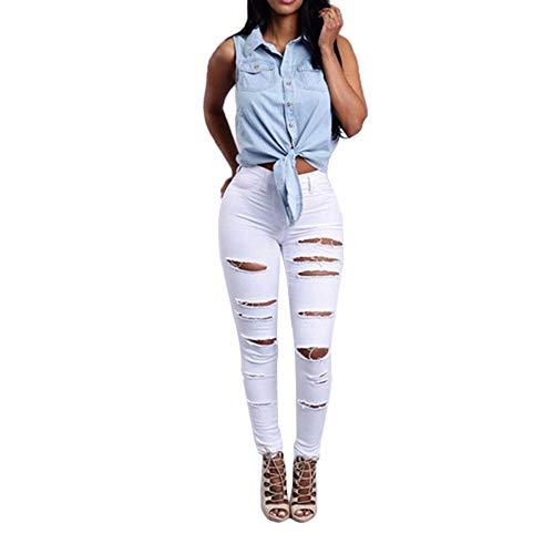 Manadlian Femme Jeans Déchirés Trous Pants à Taille Haute en Denim Skinny Pantalons Slim Crayon Pantalon Rétro Crayon Pantalon Yoga Trousers