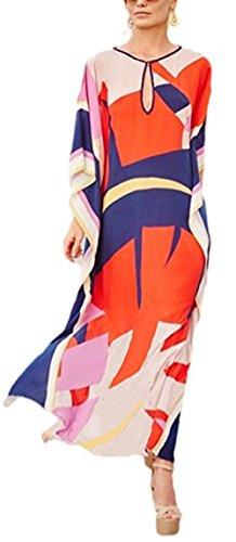 Ho Mall Bohême Mesdames Summer Elegant Beach Poncho Impression Ethnique lâche Caftan Smock Summer Maxi Dress (Modèle 5, Taille Unique)