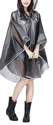 Jetai Femmes Raincoat Cape de Pluie Portable EVA Manteau Imperméable Poncho à Capuche Moto/vélo Bâche Environnement pour Voyage/Camping/Randonnée/Vacances Imperméable Raincape