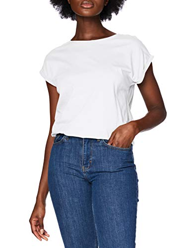 Urban Classics Ladies Extended Shoulder Tee T-Shirt Femme,Blanc (white 220),Large