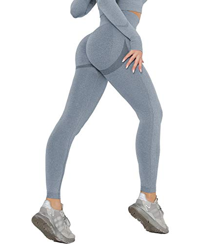 DUROFIT Push Up Legging Sport Femme Anti Cellulite Pantalon Compression Yoga Pants Butt Lift Collant Taille Haute Fitness Gym Jogging Running Course Exercice Bleu M
