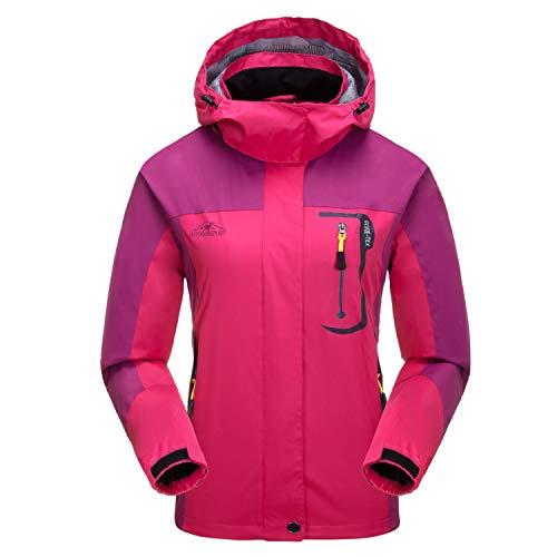 7VSTOHS Vestes légères Softshell pour Femmes Imperméable Respirant imperméable Coupe-Vent Vestes d'extérieur à Capuchon Coupe-Vent pour la randonnée Courir Le Cyclisme Trekking,L,Rose Rouge
