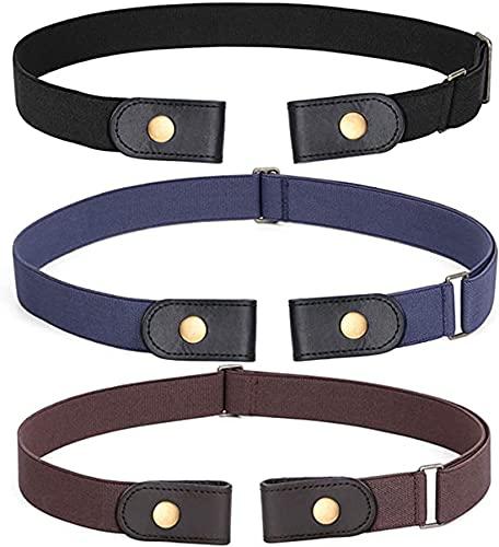 3 pièces sans boucle ceinture extensible ceinture sans boucle ceinture élastique invisible unisexe pour ceinture ajustable jeans pantalon-couleur 3