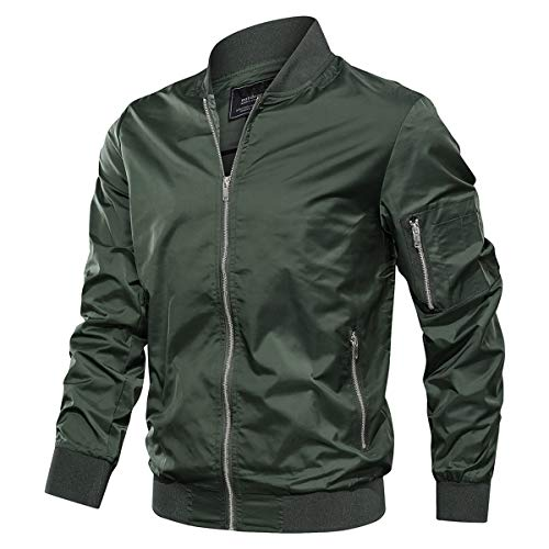 KEFITEVD Hommes Casual Baseball Cargo Jacket Automne Thin Vestes Militaire Coupe-Vent avec Zipper Poches Army Green prix et achat