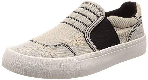 Diesel Chaussons femme slip-on chaussures jeans S-FLIP SO W (39, Black - Denim Blue, numeric_39)