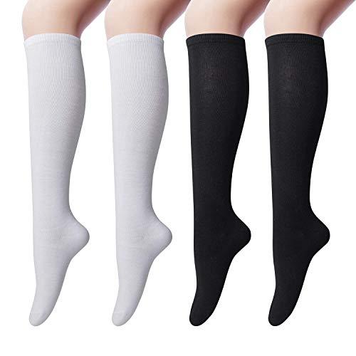 4 Paires de Chaussettes Hautes en Coton pour Femmes Chaussettes Montantes, Chaussettes Longue...