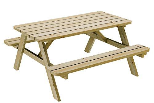 Table de pique-nique 150 cm avec bancs rabattables en bois, 6 places - Table de jardin robuste en pin