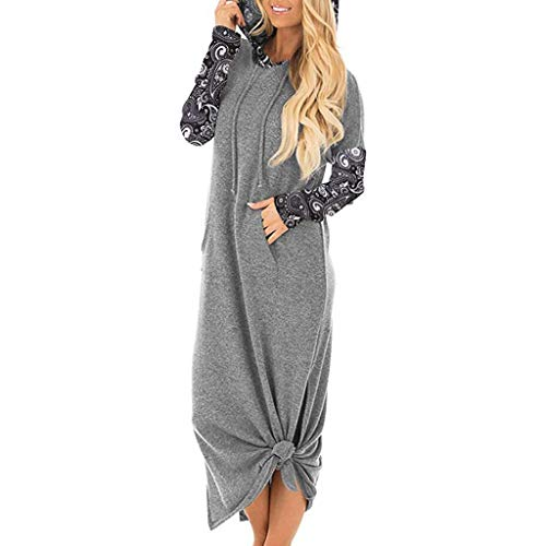 ELECTRI Femmes Hiver Automne Robe Pull en Laine Manches Longues Robes Maxi