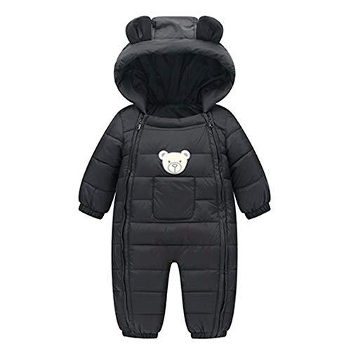 Susenstone Combinaison Enfant Manteau Fille Garcon A Capuche Hiver Blouson Coupe-Vent éPais Cartoon Manteau en Coton Chaud Mignon Double Zippé Coat 6-24 Mois (0-6 Mois(Taille:70CM), Noir)