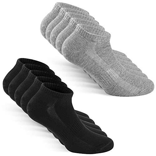 TUUHAW Chaussettes Homme Femme de 10 Paires Sport Coton Socquettes Respirant Courtes Chaussettes Noir Gris 39-42