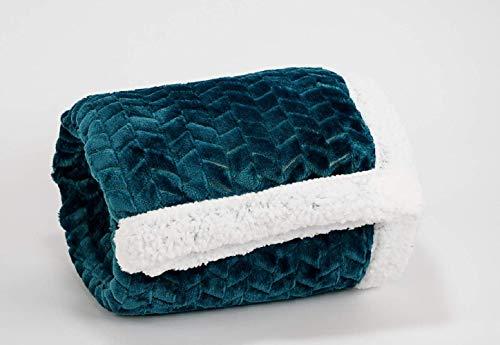 KoKoon - Plaid flanelle et sherpa (fourrure mouton) 160 x 120cm bleu canard, couverture épaisse douce et confortable pour un intérieur chaleureux, jeté de canapé élégant pour une décoration tendance !
