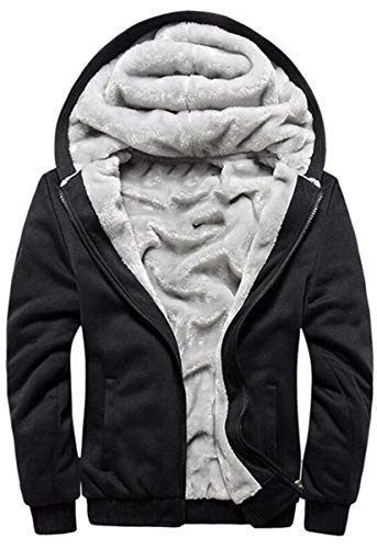 Hoodies Manche Longue Veste à Capuche Zippé Sweat-Shirt Épaisse Pull à Capuche Hiver Chaud Sweats à Capuche Doublée Polaire Manteau Veste(Noir,M)