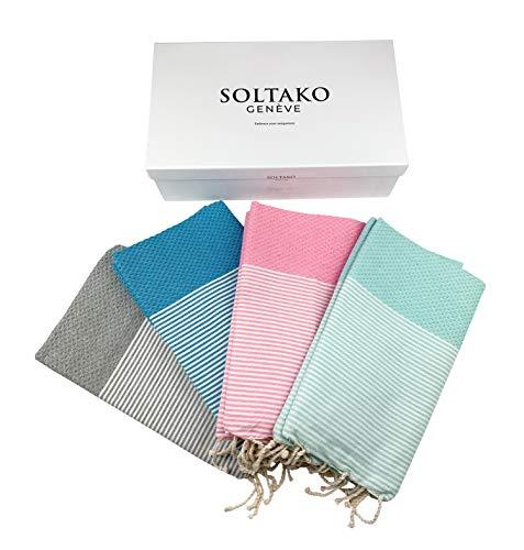 SOLTAKO Lot de 4 serviettes de plage XXL Fouta - Pour sauna, bain, hammam, yoga, pestemal -...