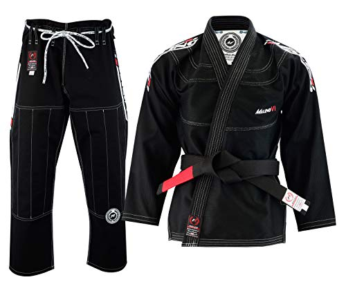 Malino Professionnel Kimono Jiu Jitsu Brésilien, BJJ gi, Costume pour Homme, Tissage de Perles 550Gsm, Pantalon 10oz Ripstop (A1, Noir)